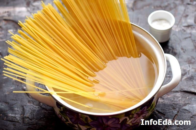 Закладка спагетти в воду