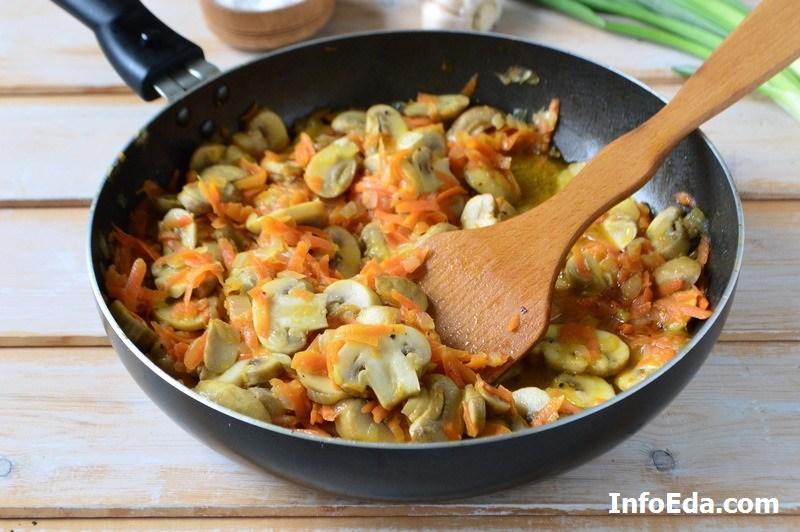 Грибной суп из шампиньонов зажарка с грибами