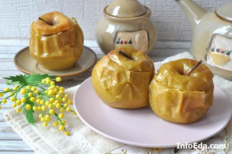 Печеные яблоки с творогом фото рецепт