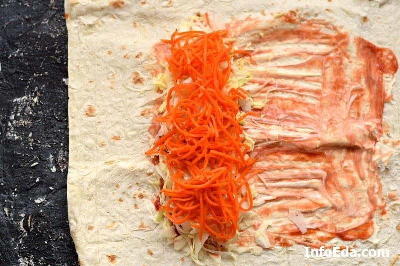 Шаурма с курицей в лаваше корейская морковь