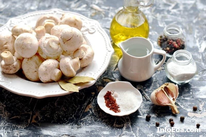 Ингредиенты для маринования шампиньонов