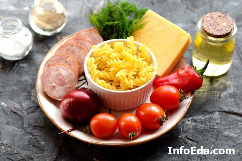 Салат с макаронами и ветчиной - ингредиенты
