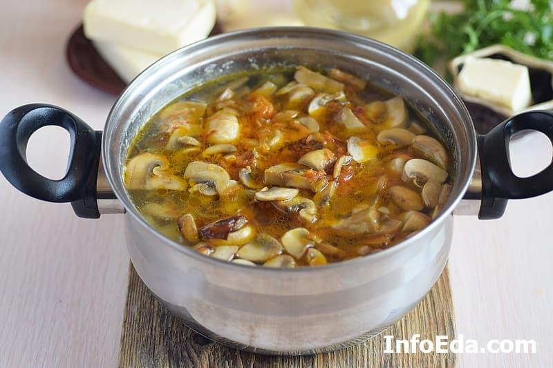 Сырный суп с грибами - варим суп