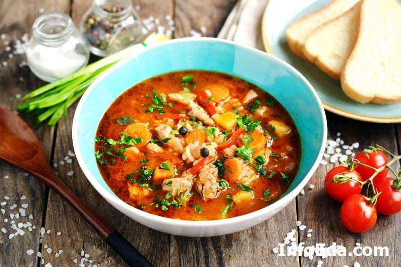 Фото - суп харчо из курицы, риса и картошки