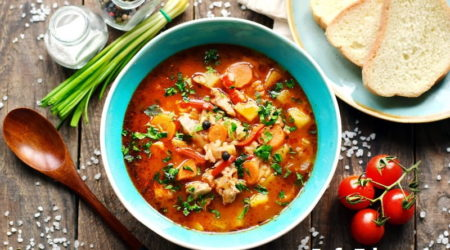 Суп-харчо с курицей и рисом
