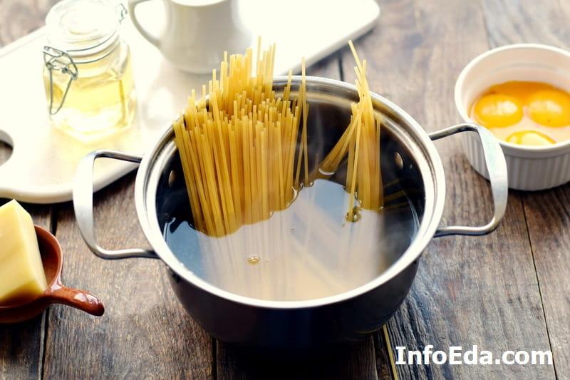 Паста Карбонара - варка спагетти в кастрюле