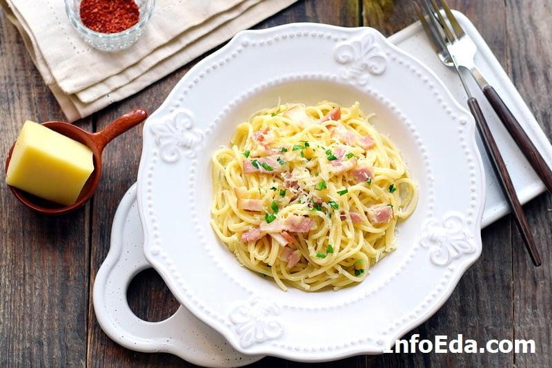 Паста Карбонара со сливками и беконом - фото рецепт