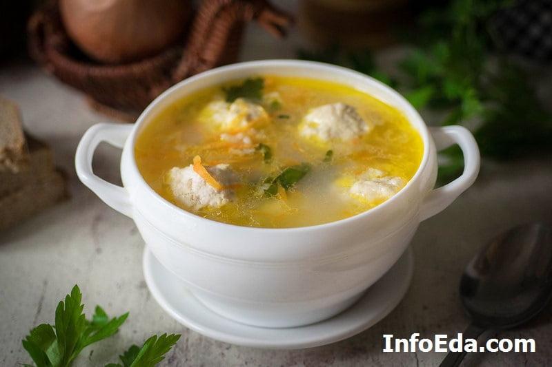 Суп с куриными фрикадельками рецепт с фото