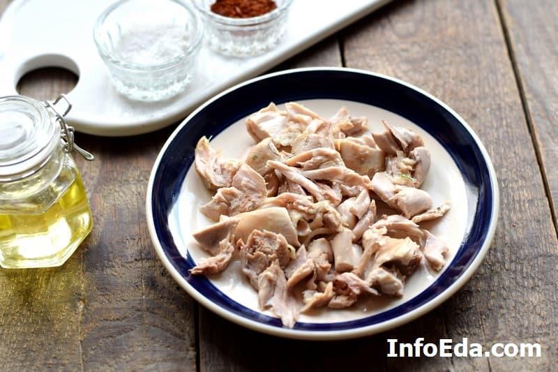 Рассольник - куриное мясо
