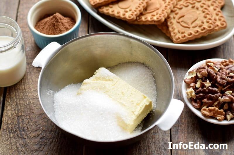 Шоколадная колбаса - масло и сахар
