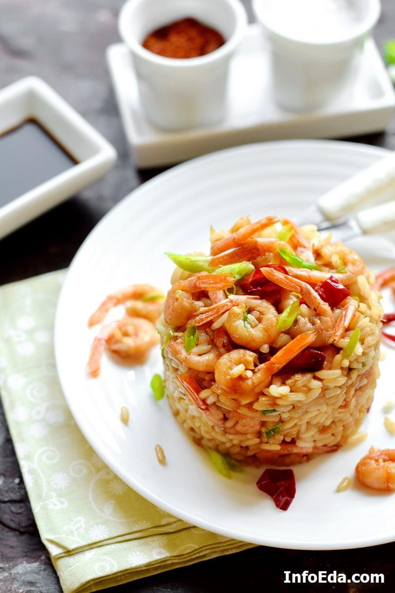 Жареные креветки с рисом - фото рецепт