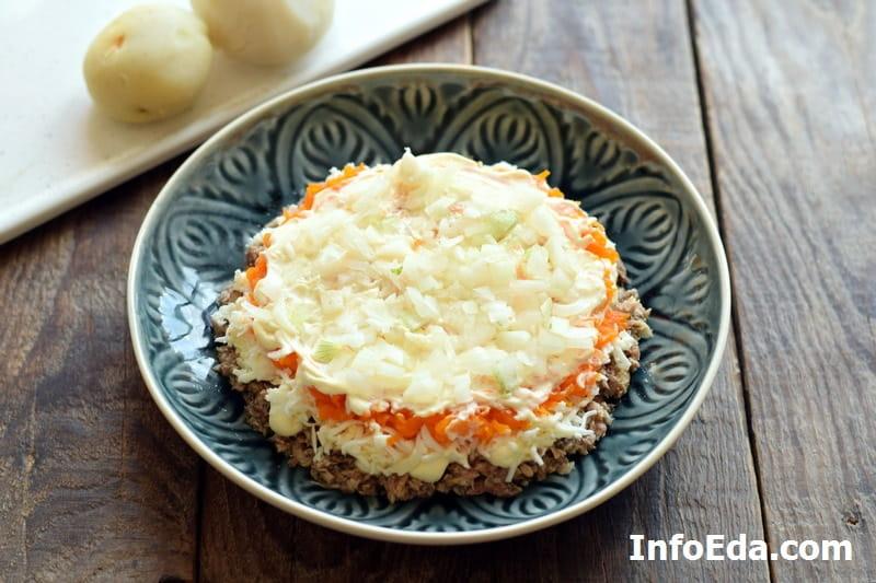 Салат Мимоза - нарезанный лук