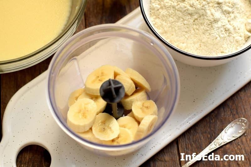 Банановые панкейки - кусочки банана