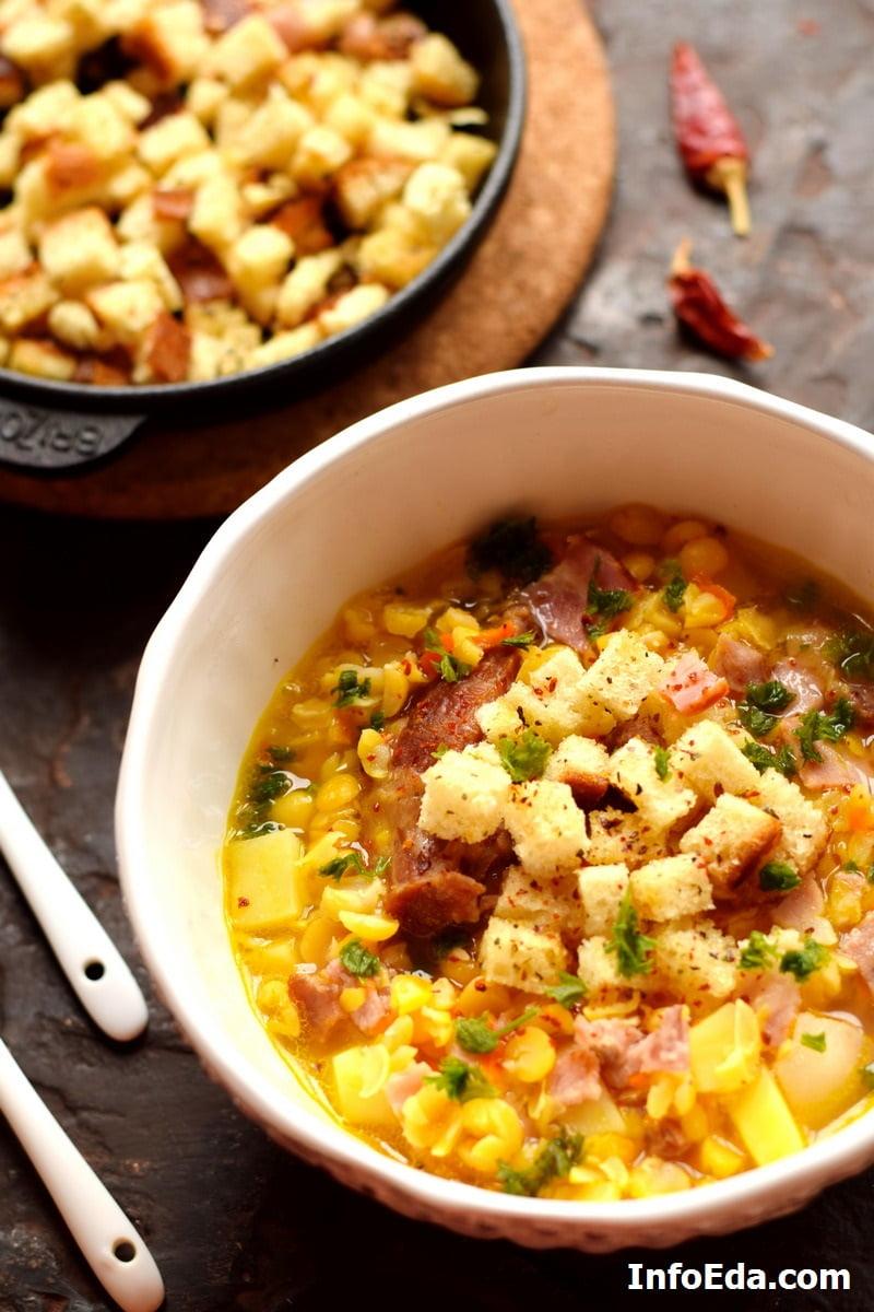 Гороховый суп с копчеными ребрами
