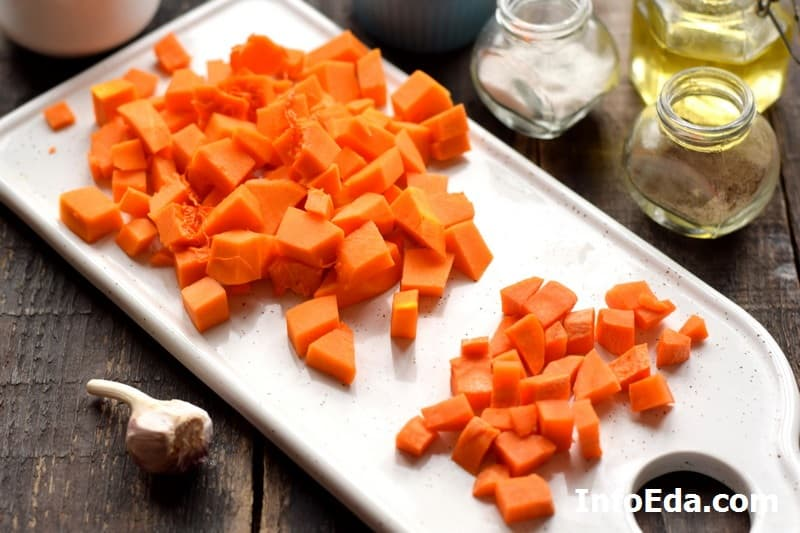 Тыквенный суп-пюре - нарезка тыквы и моркови