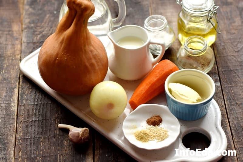 Ингредиенты для тыквенного супа-пюре со сливками