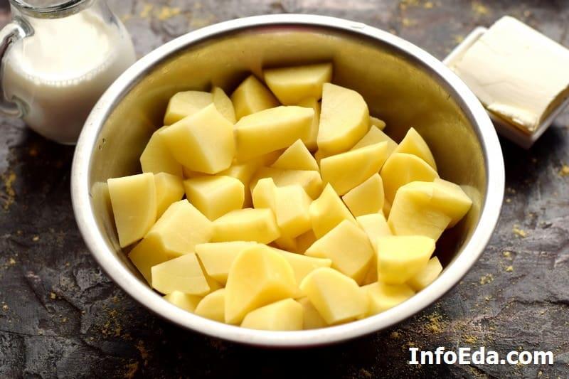 Картофельное пюре - нарезанный картофель