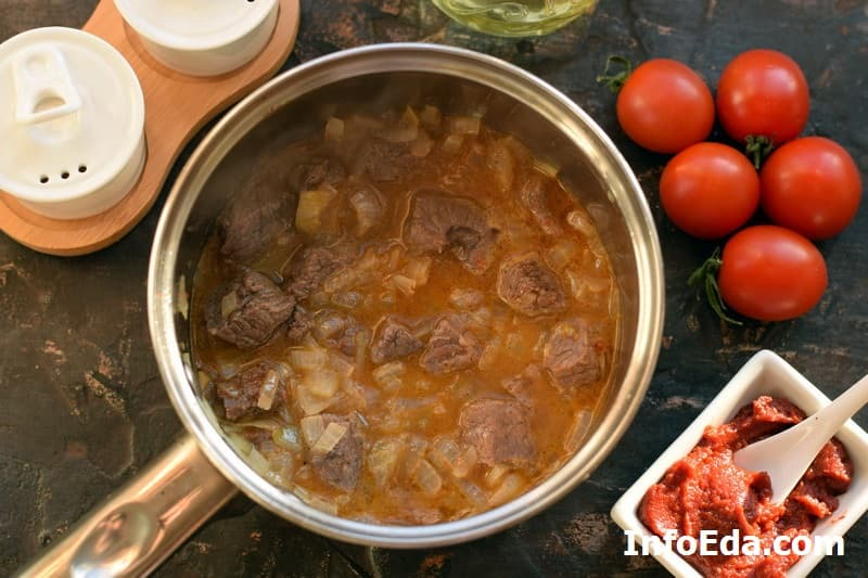 Суп гуляш по венгерски - тушение говядины