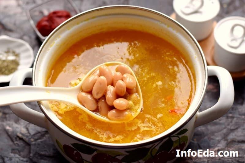Суп с консервированной фасолью - добавляем фасоль