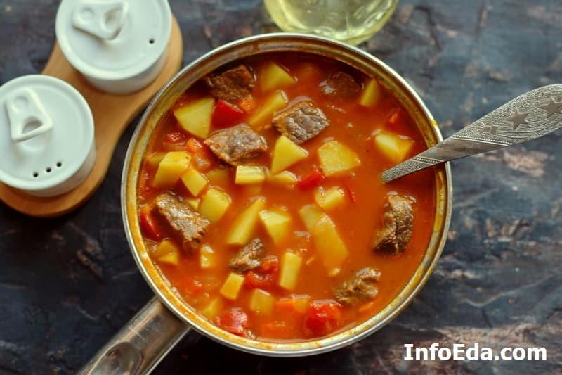 Суп гуляш по венгерски - варка супа