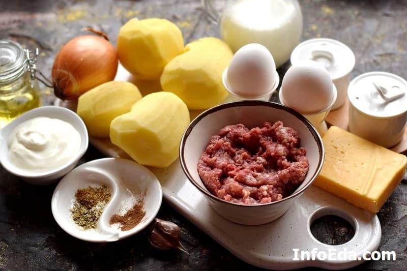 Ингредиенты для картофельной запеканки с фаршем