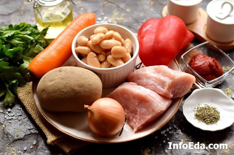 Ингредиенты для супа из консервированной фасоли
