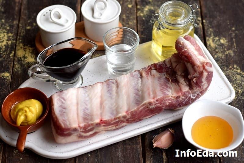 Ингредиенты для свиных ребер в духовке