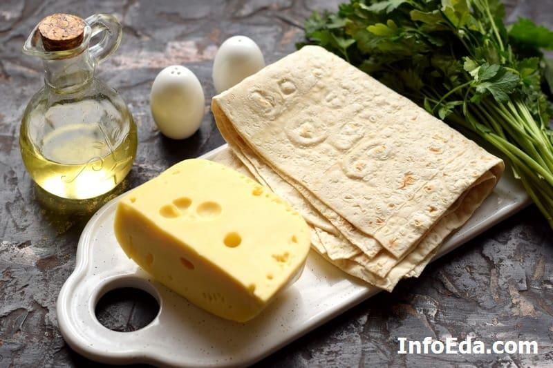Ингредиенты для конвертов из лаваша с сыром