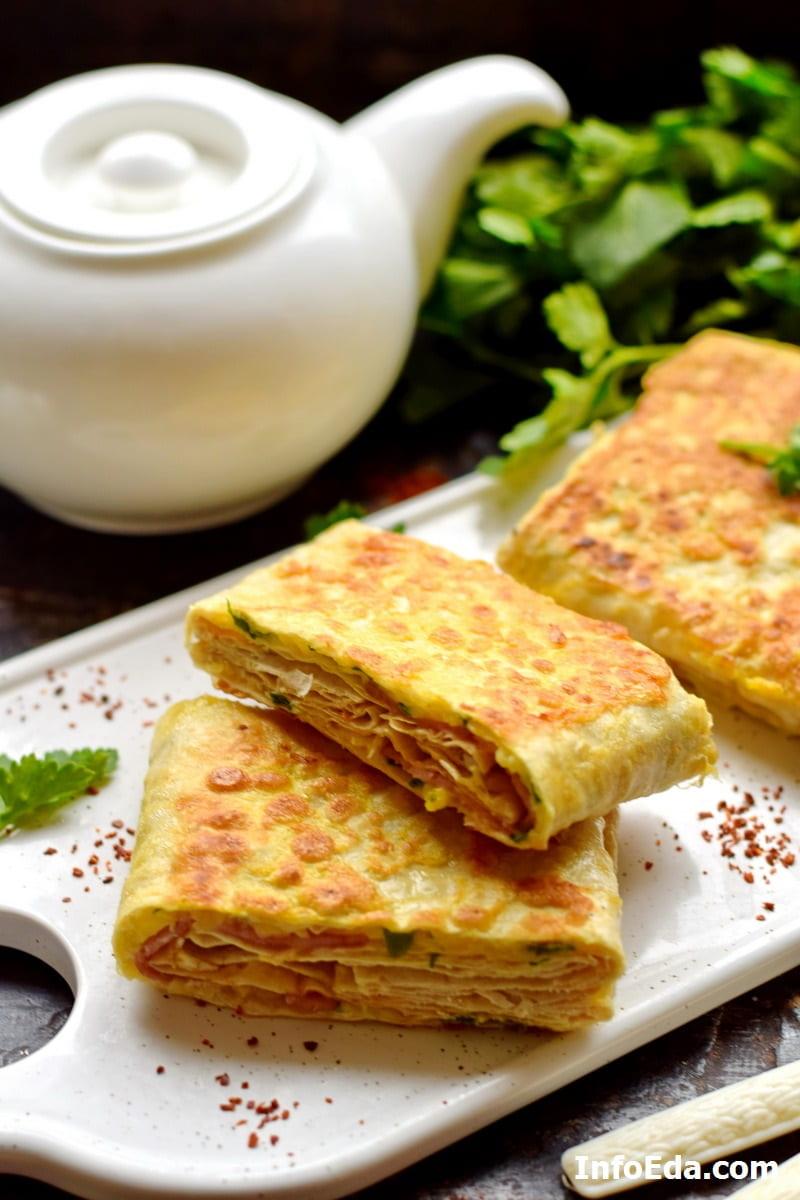 Лаваш с ветчиной и сыром жареный на сковороде