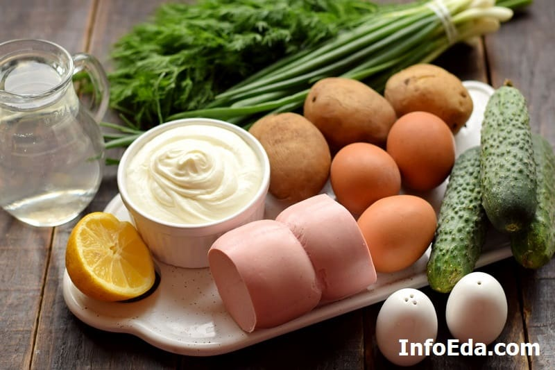 Ингредиенты для окрошки на воде с лимоном
