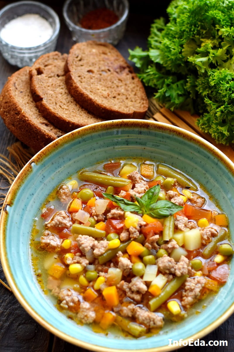 Гамбургер суп с фаршем и овощами