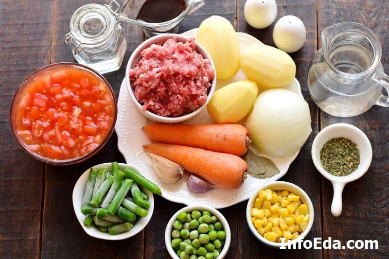 Ингредиенты для быстрого супа с фаршем
