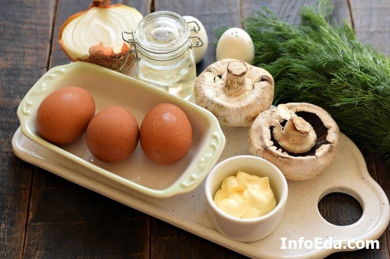 Ингредиенты для фаршировки яиц грибами