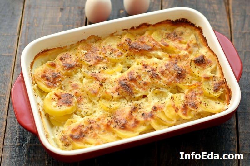 Готовый картофельный гратен в форме
