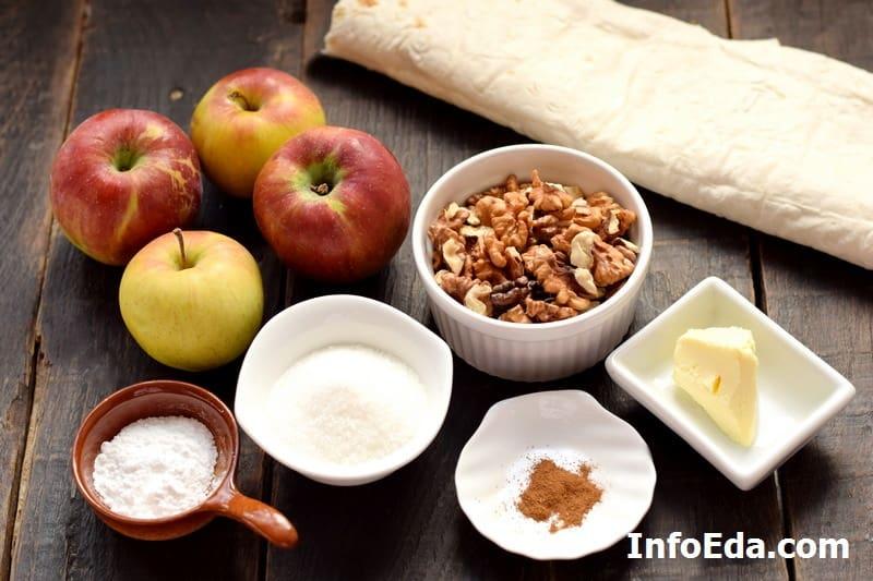 Ингредиенты для штруделя из лаваша с яблоками