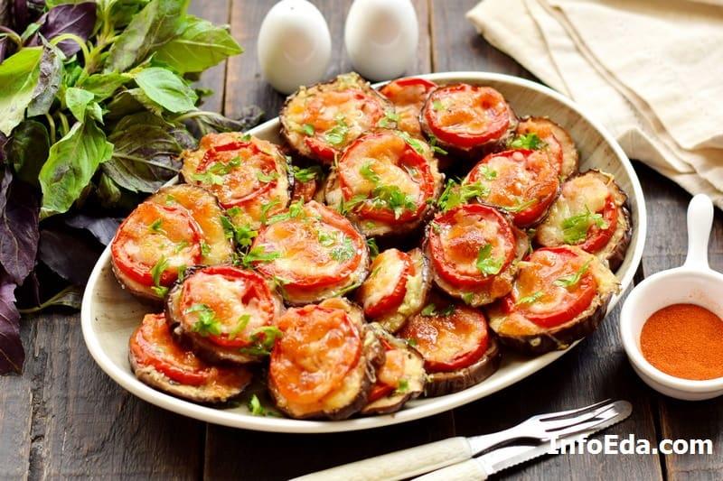 Как запечь баклажаны кружочками с сыром и помидором
