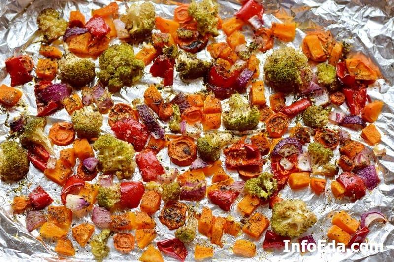 Готовые овощи с духовки