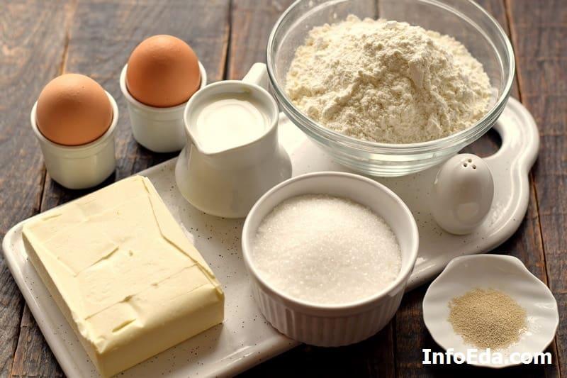 Ингредиенты для сахарных рогаликов